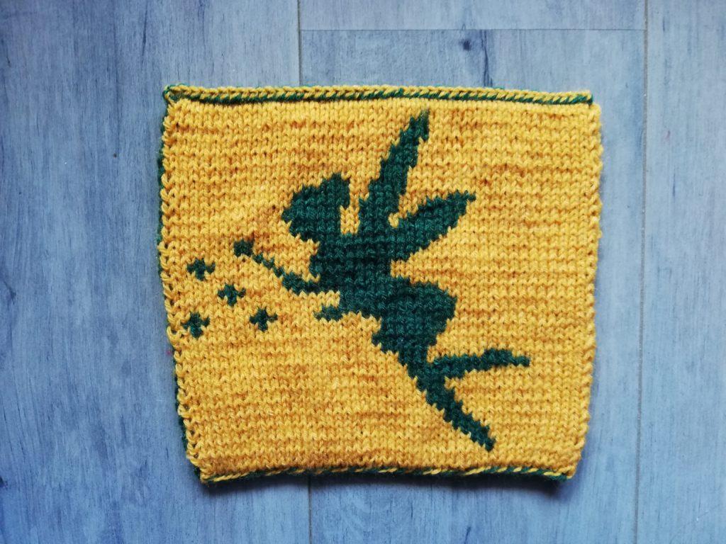 carré couverture fée clochette au tricot